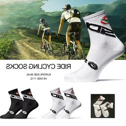 1 Pair Cycling Socks Men Sports Outdoor Black White Breathab
