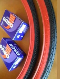 TWO 700x25C DURO BICYCLE TIRES BLACK N RED & 2 TUBES ROAD FI
