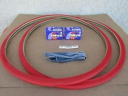 NEW  700 X 25 C  BICYCLE RED TIRES   TUBES &  LINERS ROAD,