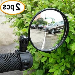 2-Pack Adjustable Rotatable Handlebar Glass Mirror for Mount