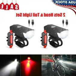 2 Set MTB Road Bike Cycling Front Light Bicycle LED USB Rech