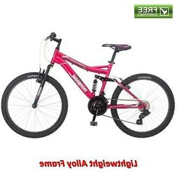24 Girls Mountain Bike Girl Bicycle Full Suspension Trail 21