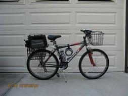 SCHWINN 24 SPEED ROAD BICYCLE. MENS. FRONT BASKET AND REAR S