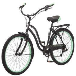 "26"" Schwinn Fairhaven Women's Cruiser Bike, Black/ Green"