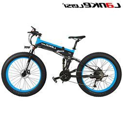 LANKELEISI 26'' Fat Wheel Folding Electric Bicycle 48V 10Ah