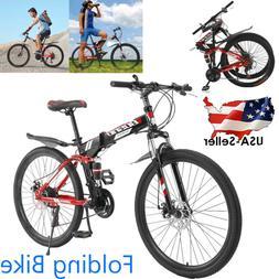 "26"" Folding Bike Mountain 21 Speed Double Disc Brakes Bicycl"