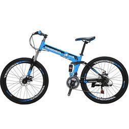 "26"" Folding Mountain Bike Full Suspension  21 Speed School B"