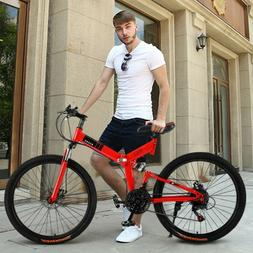 26 Inch Mountain Bike With 21 Speed Dual Disc Brakes Full Su