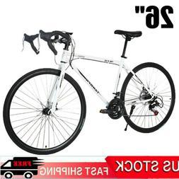 "26"" Mountain Road Bike Front Suspension 21 Speed Shifter Men"