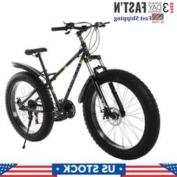 26in Fat Tire Mountain Bike 21-Speed Bicycle High-Tensile St