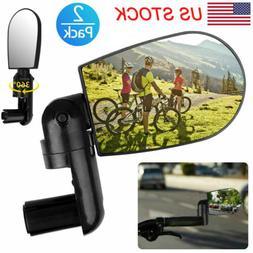 2pcs Rotaty Handlebar Glass Rearview Mirror Reflectors Road