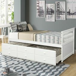 Twin Size Wood Bed Frame Daybed with Trundle Bed and 3 Stora