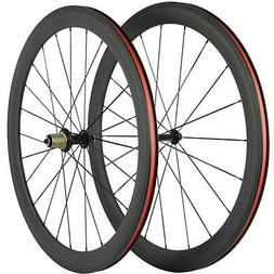 700C Clincher Carbon Road Bike Wheelset 50mm Ultra Light Car