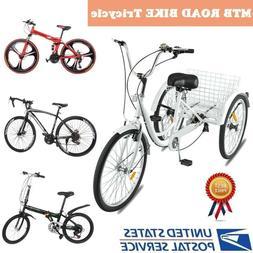 Adult Folding Shimano Speed Bicycle MTB Road Bike 3Wheel Tri