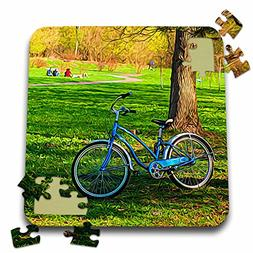 Alexis Photo-Art - Transport Road - Blue bicycle on a green