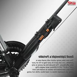 "Arltb Aluminum Alloy Mini Bike Pump with Pressure Gauge 8.7"""