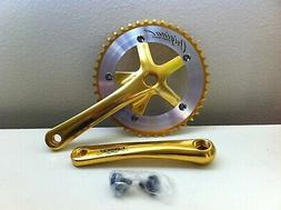 Bicycle Gold/Chrome Crank Set 44T x 165MM BMX MTB Road Fixie