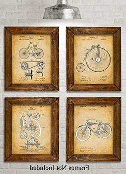 Original Bicycle Patent Art Prints - Set of Four Photos  Unf