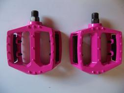 "BICYCLE PEDALS 1/2"" ALLOY HOT PINK BMX BEACH CRUISER LOWRIDE"