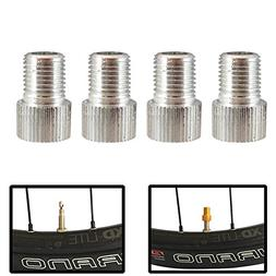 Set of 4 Bicycle Presta Valve Adapters for Road, Mountain, T