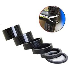 DEERU Bike Carbon Fiber Headsettem Spacer, 6 Pcs Set 1 1/8""