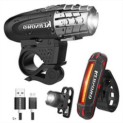 KERNOWO Bike Light, USB Rechargeable Bike Light Set- Premium