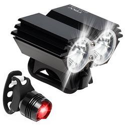 Watt LED Bike Light, Bicycle Light Combo: Headlight and Tail
