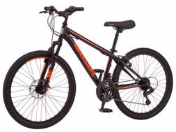 Black and Orange Mongoose Excursion Mountain Bike, Boys' 24