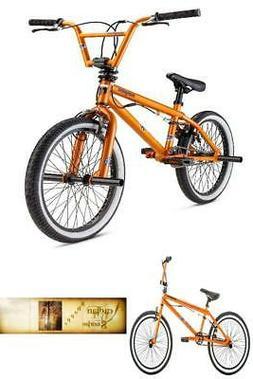 "BMX Kids Bike 20"" Wheels Freestyle Pegs Orange Bicycle Stunt"