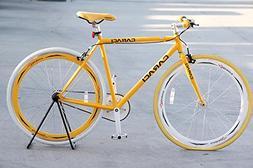 Caraci CBF2ST53YL Steel Frame Fixed Gear Bike, Yellow, 53cm