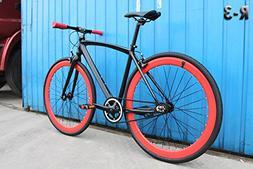 Caraci CBR3AL48BR Aluminum Frame Fixed Gear Bike, Black/Red,