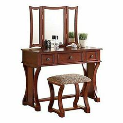 Cherry 3 pc Vanity Set Tri Mirror Wooden Table Stool Makeup