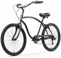 Firmstrong Chief Man Seven Speed Beach Cruiser Bicycle, 26-I