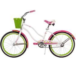 "20"" Huffy Girls' Cranbrook Cruiser Bike White Wicker Basket"