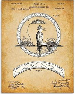 Crazy Unicycle - 11x14 Unframed Patent Print - Great Vintage