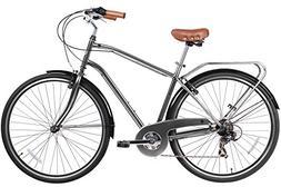 Gama Bikes Men's Cruiser Step-Thru 7 Speed Shimano Hybrid Ur