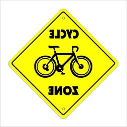 "Cycle Crossing Sign Zone Xing | Indoor/Outdoor | 20"" Tall bi"