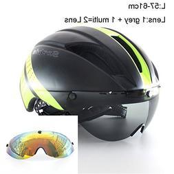 Mens Cycling Helmet with Lens Visor Ultralight Integrally-Mo