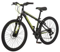 "Mongoose Excursion Mountain Bike, Boys' 24"" Black/Neon Green"