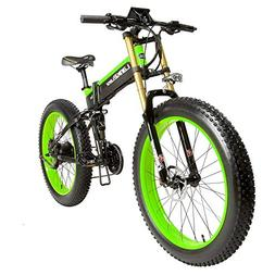 """LANKELEISI 26"""" Fat Tire Folding Electric Bicycle Shimano 27"""