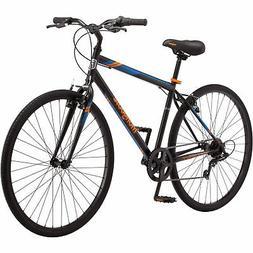 Mongoose Fitness Bike Men 700C Black Hybrid Commuter Sport C