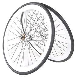 Vilano Fixed Gear 700c x 25 Bike Wheels Deep V Wheel Set Fre
