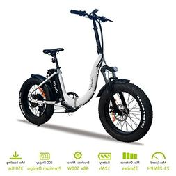 VTUVIA Folding Electric Bicycle With Waterproof 500W Motor A