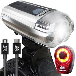 BLITZU Gator 390 USB Rechargeable LED Bike Light Set, Bicycl