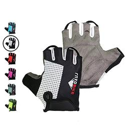 LuxoBike Best Gel Padded Fingerless Gloves Cycling Bicycling