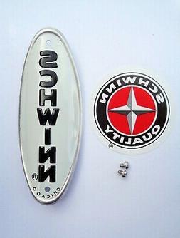 Genuine Schwinn Approved Bicycle Head Badge/Name Plate * WHI