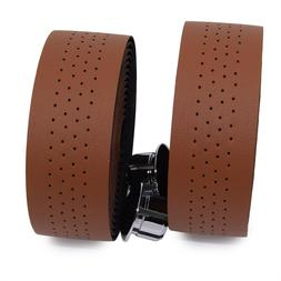 KINGOU Brown Synthetic Leather Road Bike Handlebar Tape Bicy