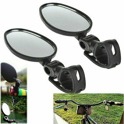 2-pack Mini Rotaty Handlebar Glass Rear view Mirror for Road
