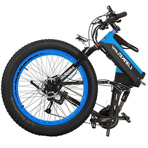 LANKELEISI Folding Bicycle 48V 10Ah Shimano 27 Full Snow MTB E-Bike with Motor,Dual Brake