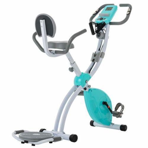 Foldable Stationary Bike Cycling Blue Magnetic
